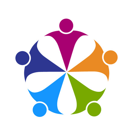 logos empresa: Amistad Trabajo en equipo gente del partido concepto de cooperación líder trabajadores amigos vector insignia de la plantilla
