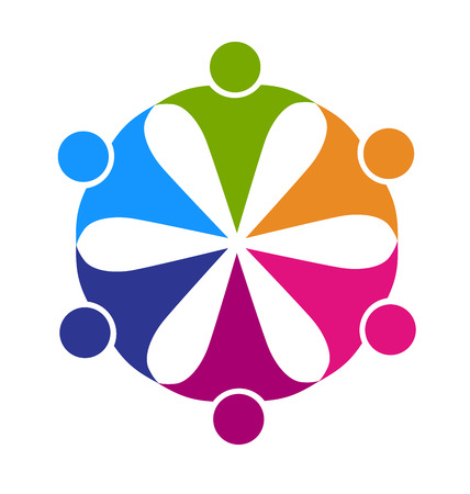 meet: Teamwork friendship party people concept of leader cooperation workers friends vector logo template Illustration