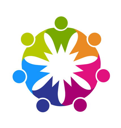 Teamwork friendship party people concept of leader cooperation workers friends vector logo template  イラスト・ベクター素材
