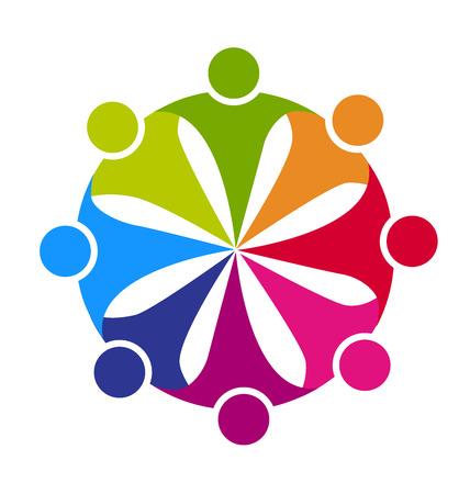 Amistad Trabajo en equipo gente del partido concepto de cooperación líder trabajadores amigos vector insignia de la plantilla
