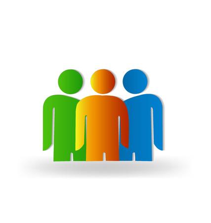 la union hace la fuerza: Trabajo en equipo gente de negocios concepto de la cooperaci�n de los trabajadores amigos vector logo plantilla