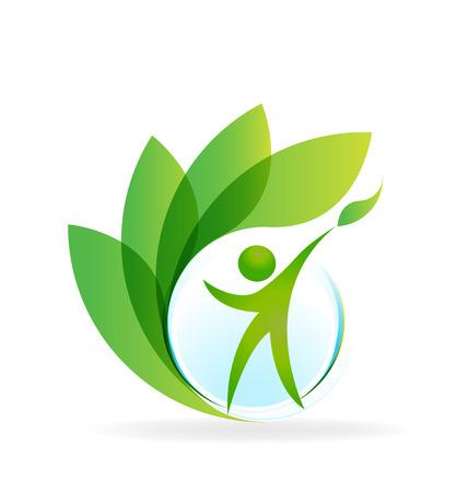 saludable logo: La naturaleza de la Salud el cuidado del corazón del vector tarjeta de visita identidad web