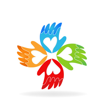 supporting: Hands of love vector icon logo Illustration