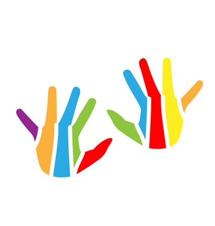 Children hands colorful vector design logo Vettoriali