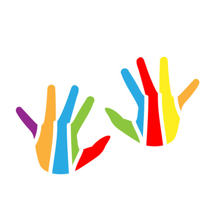 church group: Children hands colorful vector design logo Illustration
