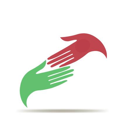 Frau, die Hände Business-Vektor-Symbol-Logo-Vorlage