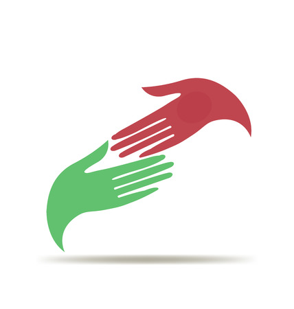 leaders: Woman hands business vector icon logo template Illustration