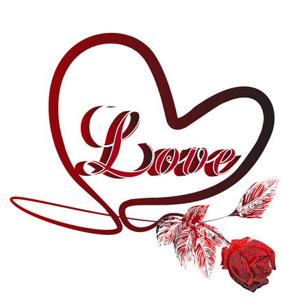 red rose: Heart of love symbol with red rose vector