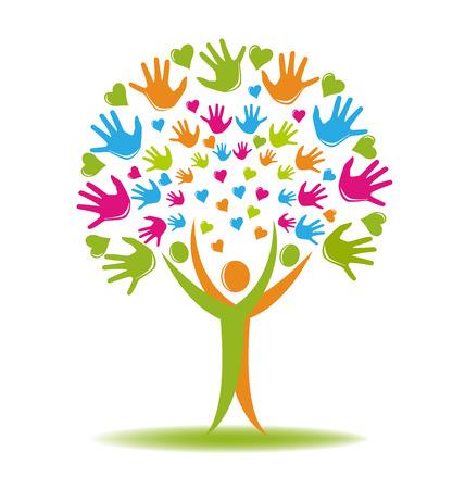 convivencia escolar: Árbol con las manos y los corazones cifras vector logo Vectores