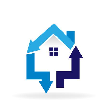 House and arrows symbol vector logo Vector