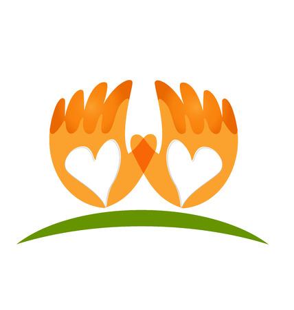 Hands love vector icon logo Illustration