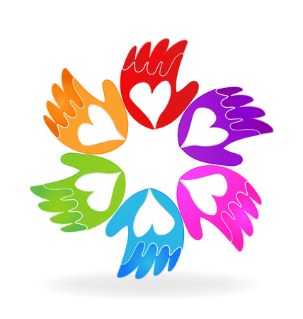 together voluntary: Hands of love vector icon logo Illustration