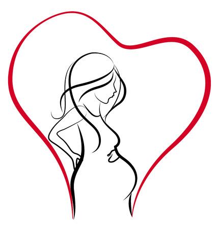 Silhouet van de zwangere vrouw hart liefde vector logo Stock Illustratie