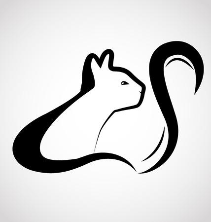silueta de gato: Gato tarjeta de visita logo