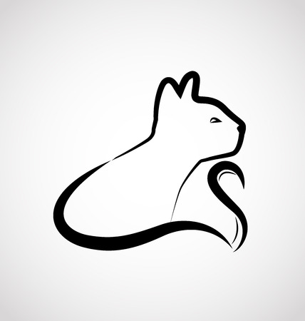 black and white image drawing: Cat elegant logo vector graphic design Illustration