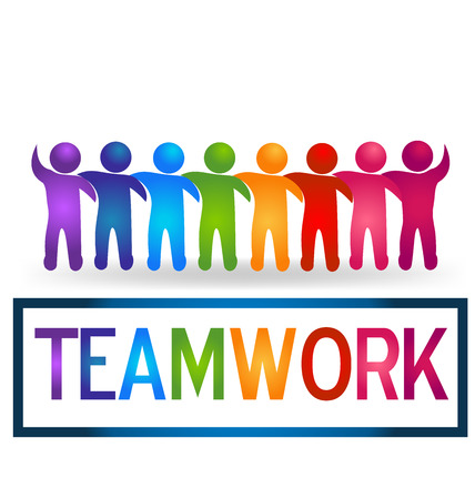 employee stock option: Meeting teamwork people logo vector Illustration