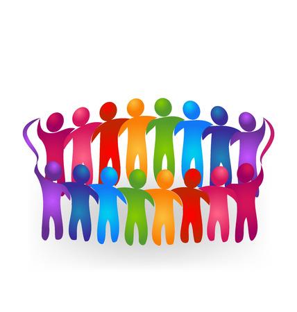 Meeting teamwork people logo vector Illustration