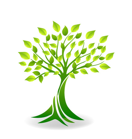 green leafs: Ecology tree logo vector