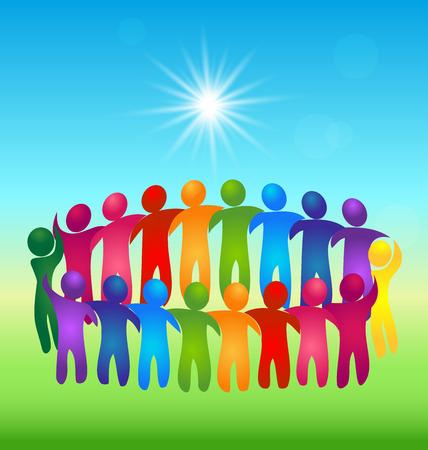 identidad cultural: Conocer a gente de trabajo en equipo vector logo