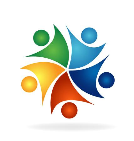 cultura: Feliz éxito la unidad de trabajo en equipo de personas vector logo