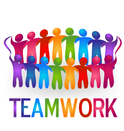together voluntary: Meeting teamwork people logo vector Illustration