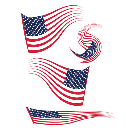 USA Flags logo. Set Vector illustration