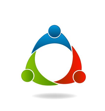 fortaleza: Trabajo en equipo socios identidad unión tarjeta vector logo