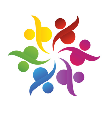 Teamwork Logo. Concept of community union goalssolidarity  partnerschildren  vector graphic. This logo template also represents colorful kids playing together holding hands in circles union of workers employees meeting Vector