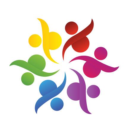 Travail d'équipe Logo. Concept de l'union de la communauté partnerschildren de goalssolidarity graphique vectoriel. Ce modèle de logo représente aussi les enfants colorés jouer ensemble se tenant la main dans les cercles union de réunion travailleurs salariés Banque d'images - 41077475