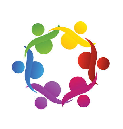 employee stock option: Teamwork Logo. Concept of community union goalssolidarity  partnerschildren  vector graphic. This logo template also represents colorful kids playing together holding hands in circles union of workers employees meeting