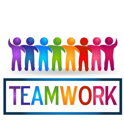 personas abrazadas: Vector El trabajo en equipo de personas que abrazan logo