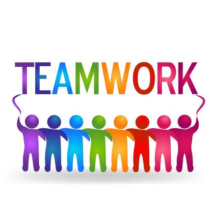 fortaleza: Vector El trabajo en equipo de personas asociadas logo
