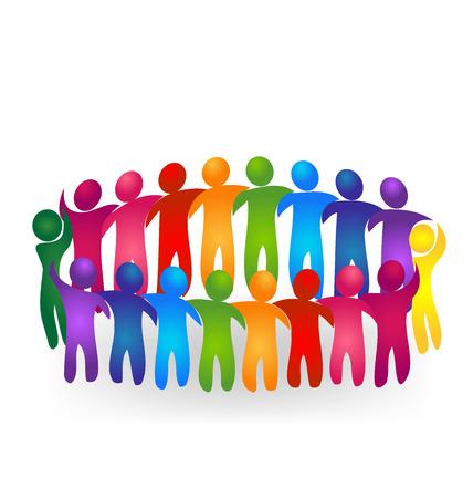 mujeres juntas: Vector Trabajo en equipo gente de reuniones logo Vectores