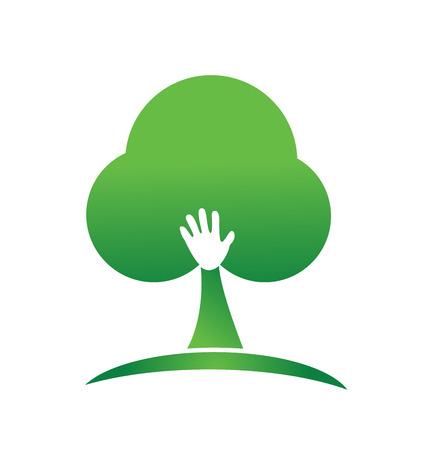 Hand people tree logo vector image Vector