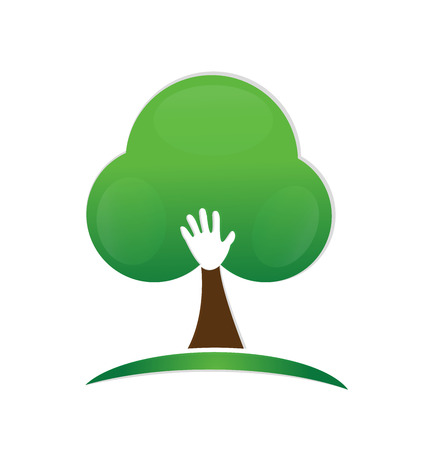 growing partnership: Abstract hand people tree logo vector image Illustration