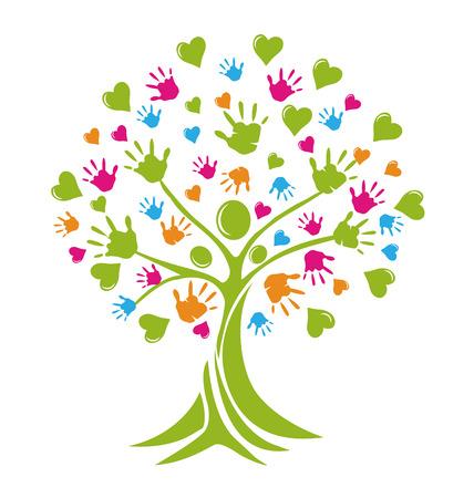 Árbol con las manos y figuras corazones