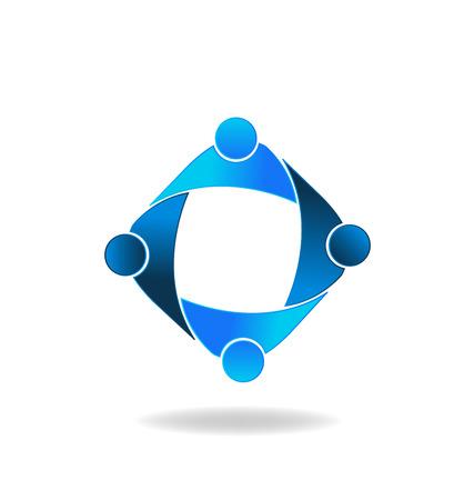 ordinateur logo: Vecteur Travail d'�quipe de gens d'affaires logo Illustration