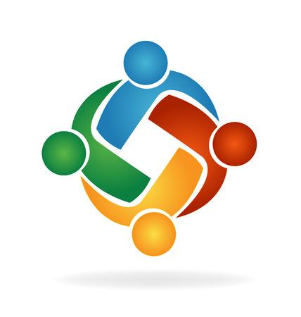 Vector Teamwork hug people logo Illustration