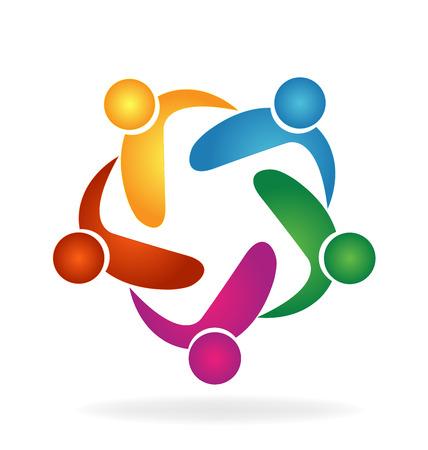 education: Vecteur personnes Travail d'équipe étreinte logo