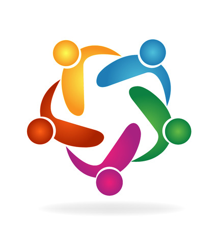 friendship circle: Vector Teamwork hug people logo Illustration