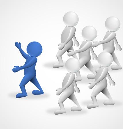 3d mensen leider business group vectorsymbool