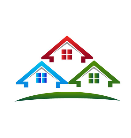 vector image: Houses Real estate business card vector image Illustration