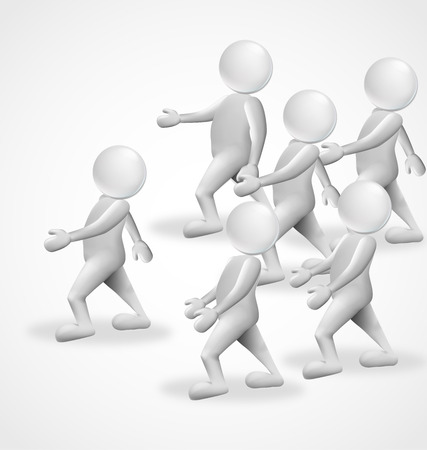 free clip art: 3d people marching business group vector symbol