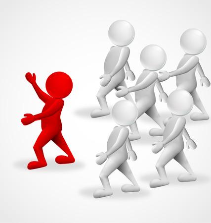 La gente 3d leader del gruppo di imprese simbolo