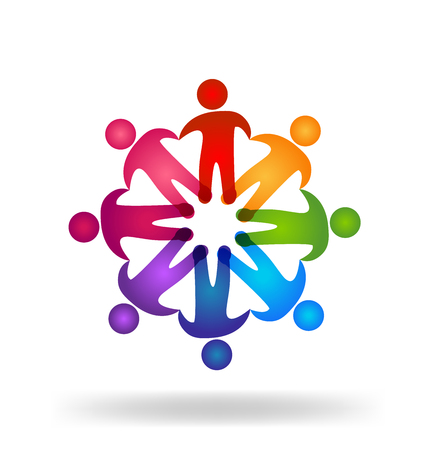 Teamwork people holding hands   design template icon vector
