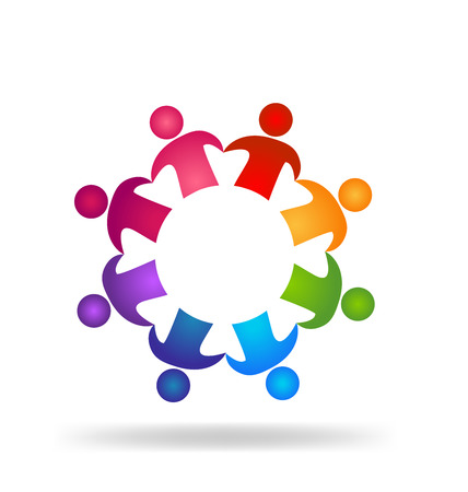 social networking: Teamwork people holding hands   design template icon vector