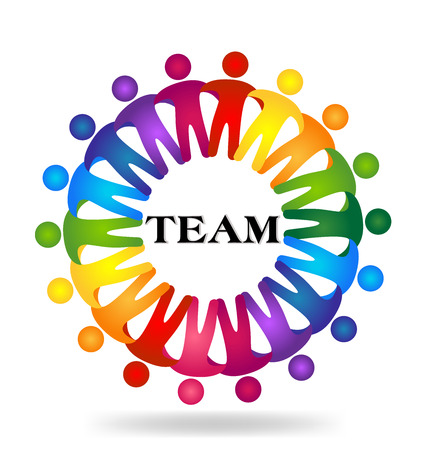 Teamwork hugging people   design template icon vector