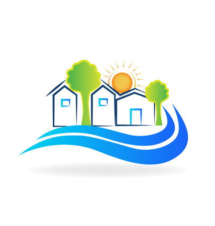 houses on water: Houses waves and sun logo vector image Illustration
