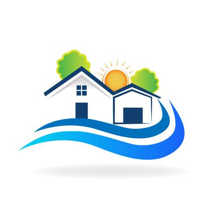 beach closed: House waves logo vector