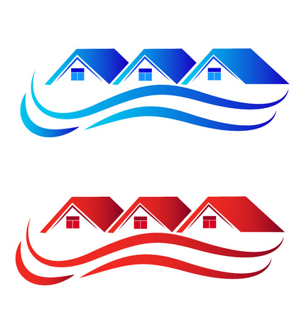 Houses logo set collection real estate image Illustration